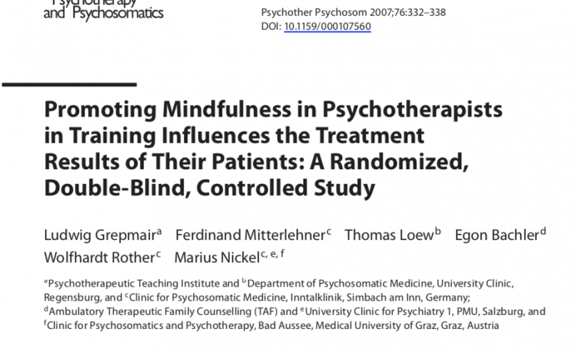 promoting mindfulness in psychotherapistsin training influences the treatment results of their patients