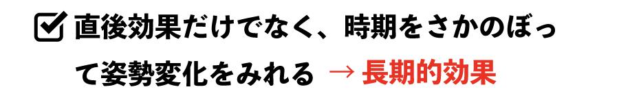 直後効果だけでなく、時期をさかのぼって姿勢変化をみれる → 長期的効果